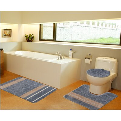 3 Piece Bath Mat Set Color: Gray