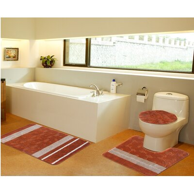 3 Piece Bath Mat Set Color: Orange