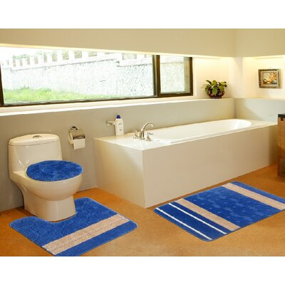 3 Piece Bath Mat Set Color: Galaxy Royal Blue