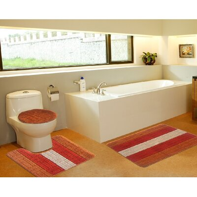 3 Piece Bath Mat Set Color: Tiles Orange