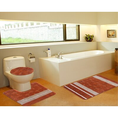3 Piece Bath Mat Set Color: Galaxy Orange