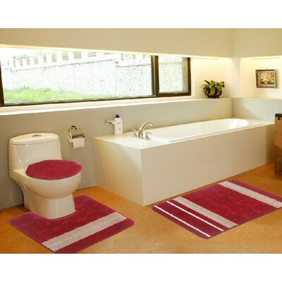 3 Piece Bath Mat Set Color: Galaxy Red