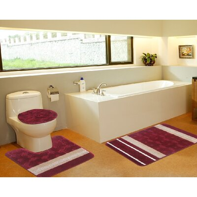 3 Piece Bath Mat Set Color: Galaxy Burgundy