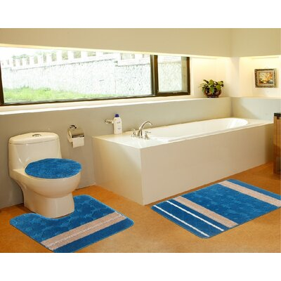 3 Piece Bath Mat Set Color: Galaxy Turquoise