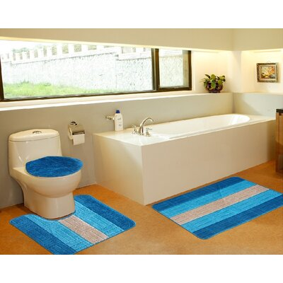 3 Piece Bath Mat Set Color: Tiles Turquoise