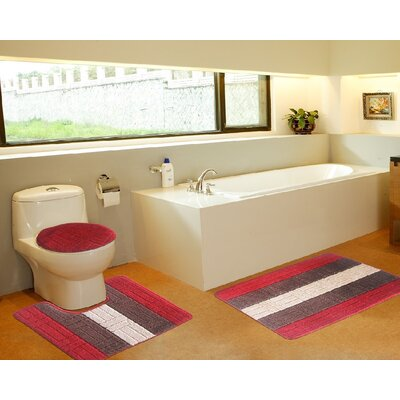3 Piece Bath Mat Set Color: Tiles Red