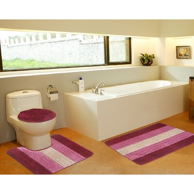 3 Piece Bath Mat Set Color: Tiles Burgundy