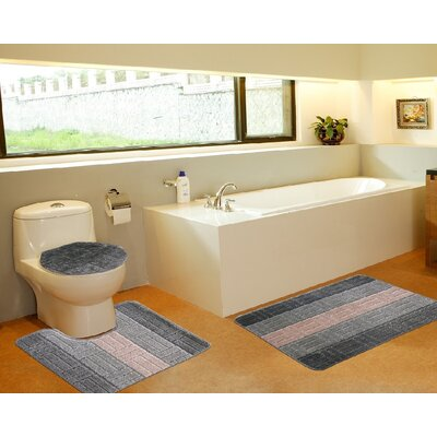 3 Piece Bath Mat Set Color: Tiles Sage Green