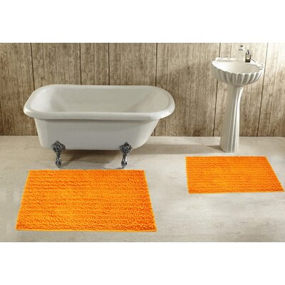 2 Piece Bath Rug Set Color: Orange
