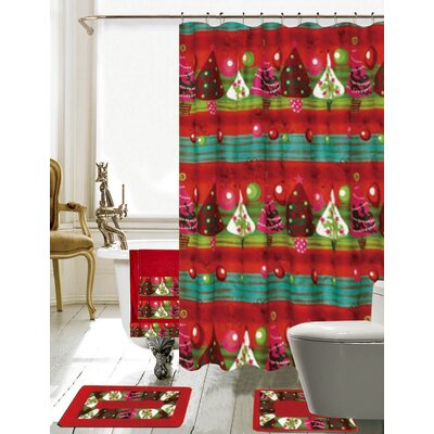 Christmas Bathroom Decor 18 Piece Shower Curtain Set