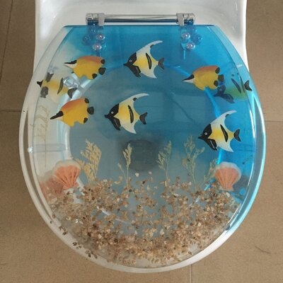 Fish Decorative Round Toilet Seat Size: 19