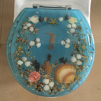 Sea Treasure Decorative Round Toilet Seat Color: Blue