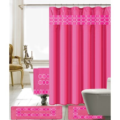 Austyn 18 Piece Embroidery Shower Curtain Set Color: Pink