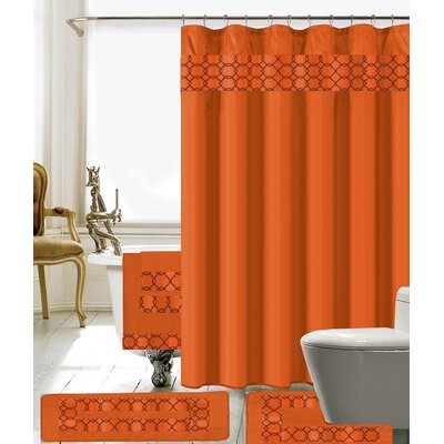 Austyn 18 Piece Embroidery Shower Curtain Set Color: Orange