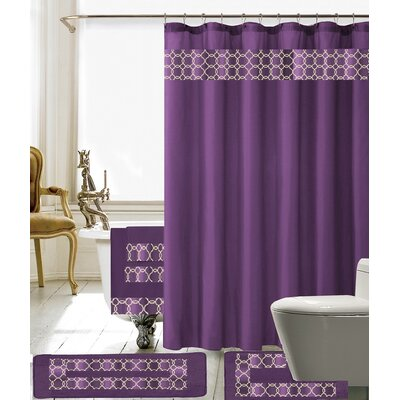 Austyn 18 Piece Embroidery Shower Curtain Set Color: Purple