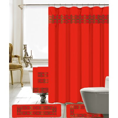 Austyn 18 Piece Embroidery Shower Curtain Set Color: Red