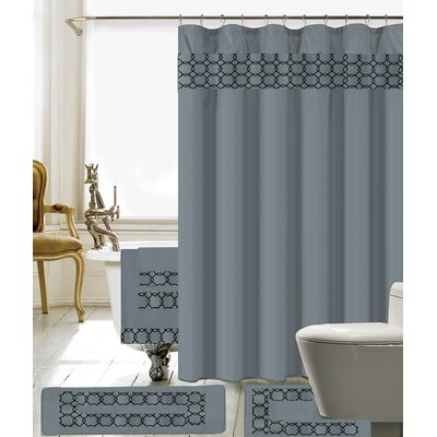 Austyn 18 Piece Embroidery Shower Curtain Set Color: Gray/Black