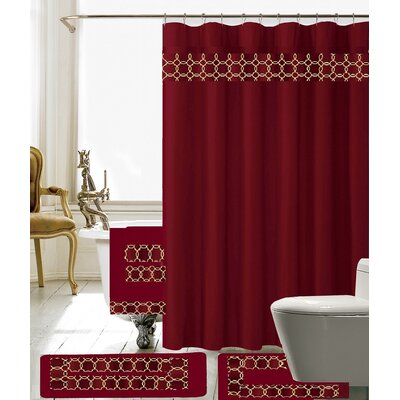 Austyn 18 Piece Embroidery Shower Curtain Set Color: Burgundy/Gold