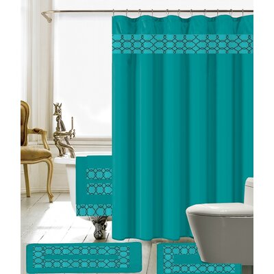 Austyn 18 Piece Embroidery Shower Curtain Set Color: Turquoise