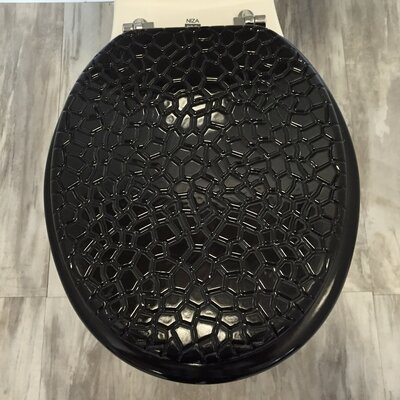 Molded Wood Round Toilet Seat Finish: Stone Black