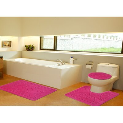 3 Piece Twist Bath Rug Set Size: 20 H x 32 W, Color: Pink