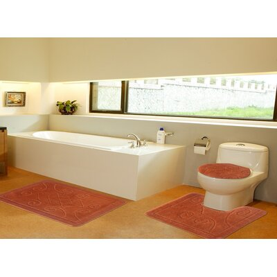 3 Piece Twist Bath Rug Set Size: 22 H x 39 W, Color: Orange