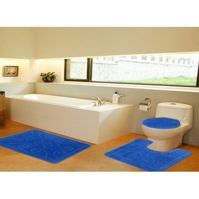 3 Piece Twist Bath Rug Set Size: 20 H x 32 W, Color: Blue