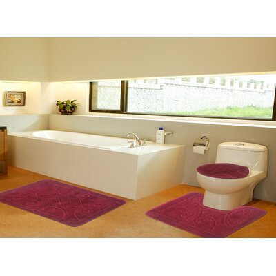 3 Piece Twist Bath Rug Set Size: 20 H x 32 W, Color: Burgundy