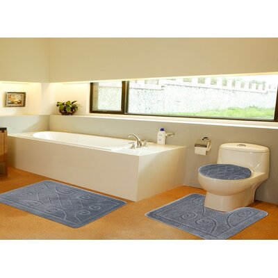 3 Piece Twist Bath Rug Set Size: 22 H x 39 W, Color: Gray