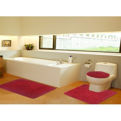 3 Piece Twist Bath Rug Set Size: 20 H x 32 W, Color: Red