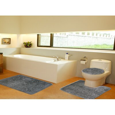 3 Piece Twist Bath Rug Set Size: 20 H x 32 W, Color: Sage