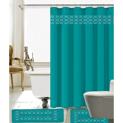 Avelaine Shower Curtain Set Color: Turquoise