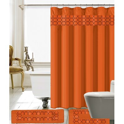 Charlton Shower Curtain Set Color: Orange