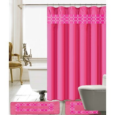 Avelaine Shower Curtain Set Color: Hot Pink