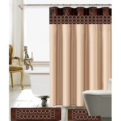 Avelaine Shower Curtain Set Color: Beige/Brown
