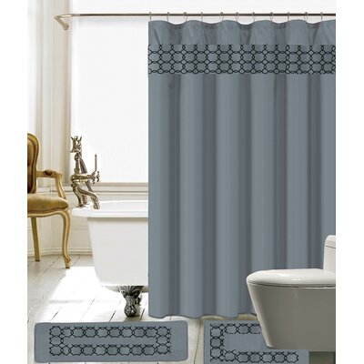 Avelaine Shower Curtain Set Color: Gray