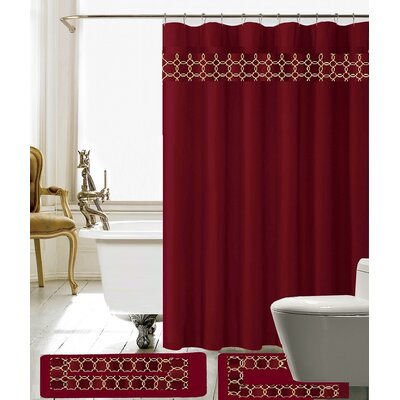 Avelaine Shower Curtain Set Color: Burgundy
