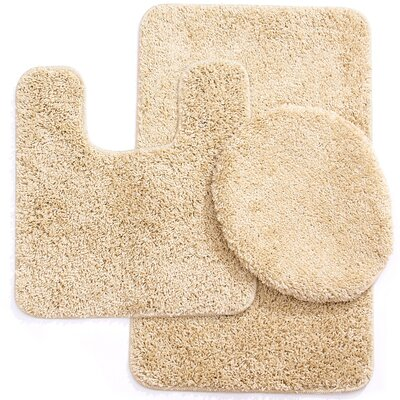 Newville 3 Piece Solid Bath Mat Set Color: Beige
