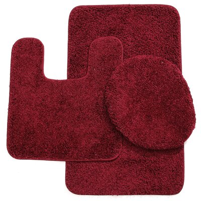 Newville 3 Piece Solid Bath Mat Set Color: Burgundy