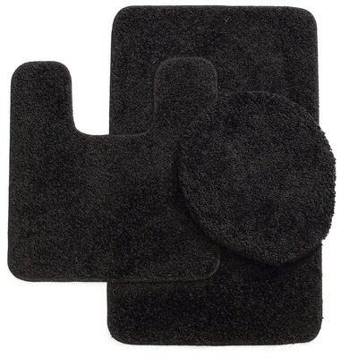 Kober 3 Piece Solid Bath Mat Set Color: Black