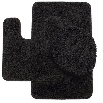 Newville 3 Piece Solid Bath Mat Set Color: Black