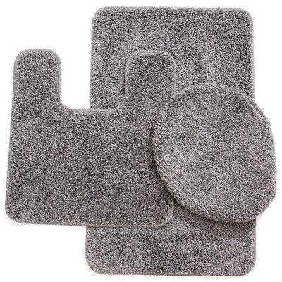 Kober 3 Piece Solid Bath Mat Set Color: Gray