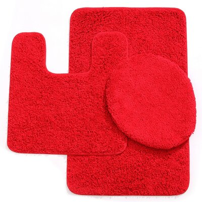 3 Piece Solid Bath Mat Set Color: Red