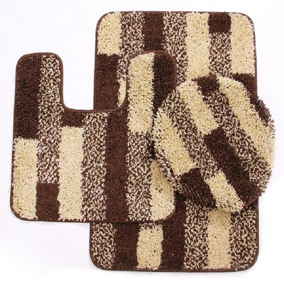 3 Piece Brick Bath Mat Set Color: Beige/Brown