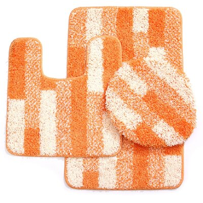 3 Piece Brick Bath Mat Set Color: Ivory/Orange