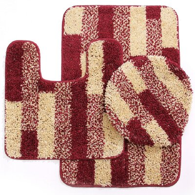 3 Piece Brick Bath Mat Set Color: Beige/Burgundy