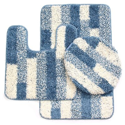3 Piece Brick Bath Mat Set Color: Ivory/Dusty Blue