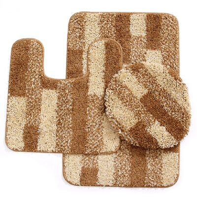 3 Piece Brick Bath Mat Set Color: Beige/Gold