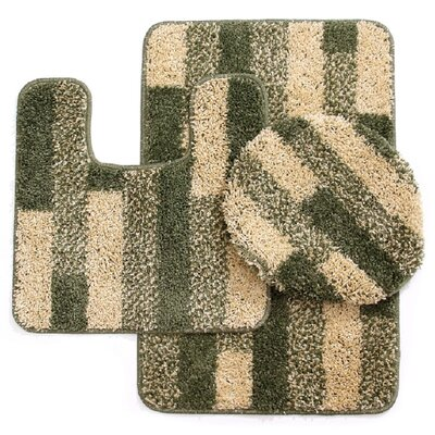 3 Piece Brick Bath Mat Set Color: Beige/Sage