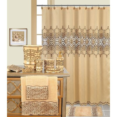 Decorative Shower Curtain Color: Beige/Brown